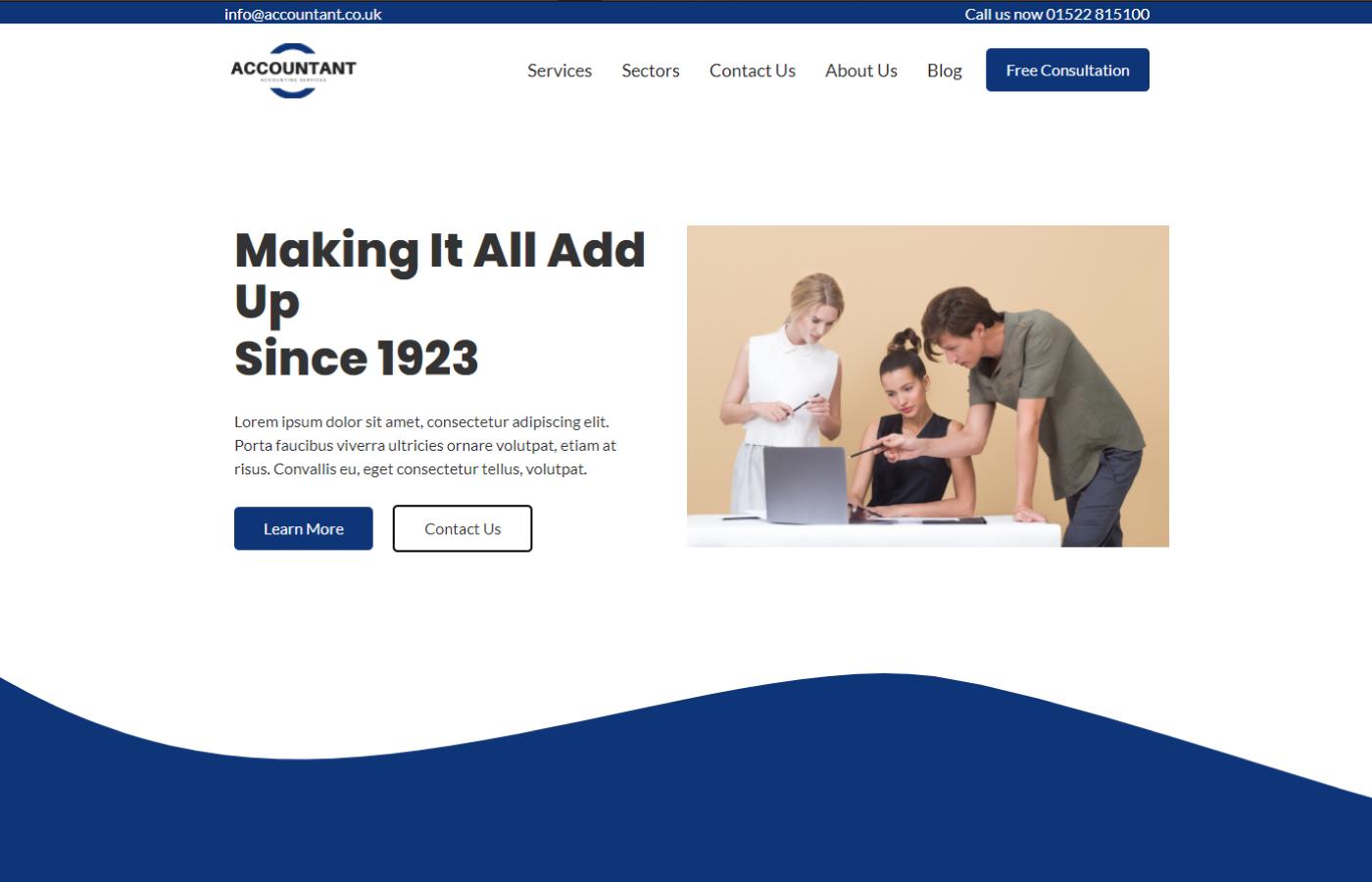 An Accounting template website designed and built by Brett Hudson Freelance Web Designer and Webflow Developer