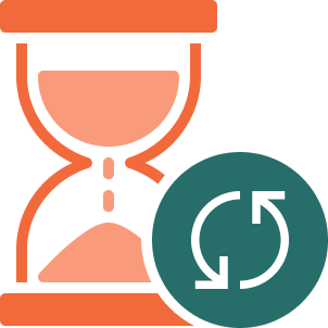 Icon of a hourglass with a recycling icon indicating time passing