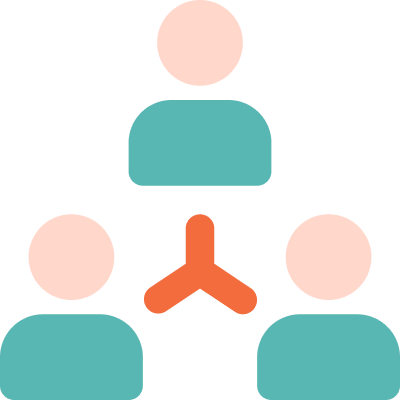 Icon of a group of three people connected together to form a team
