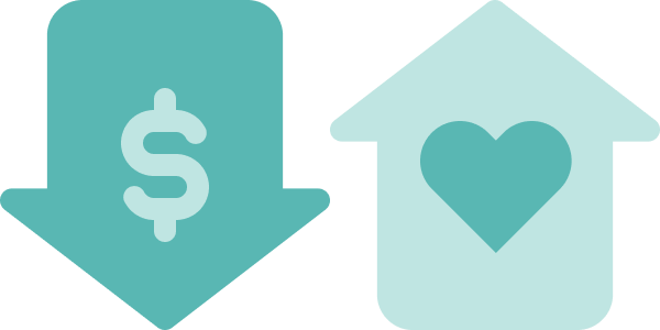 Icon of two arrows, one pointing down with a dollar sign inside, and another pointing up with a heart isnide
