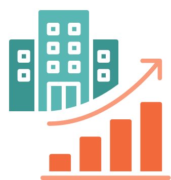 Icon of an office building and a chart showing an arrow swooping upward