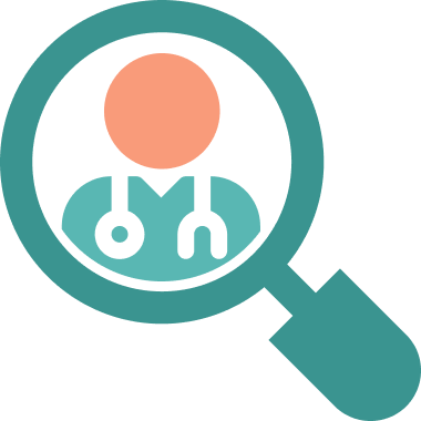 Icon of a magnifying glass focusing on a doctor to show scrutiny