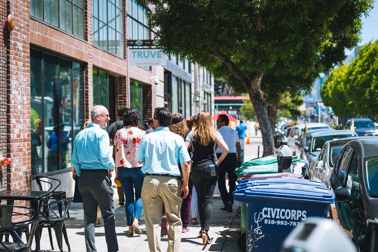 Visitors to ICA Fund Good Jobs get a tour of ICA companies, at the HIVE in Oakland.