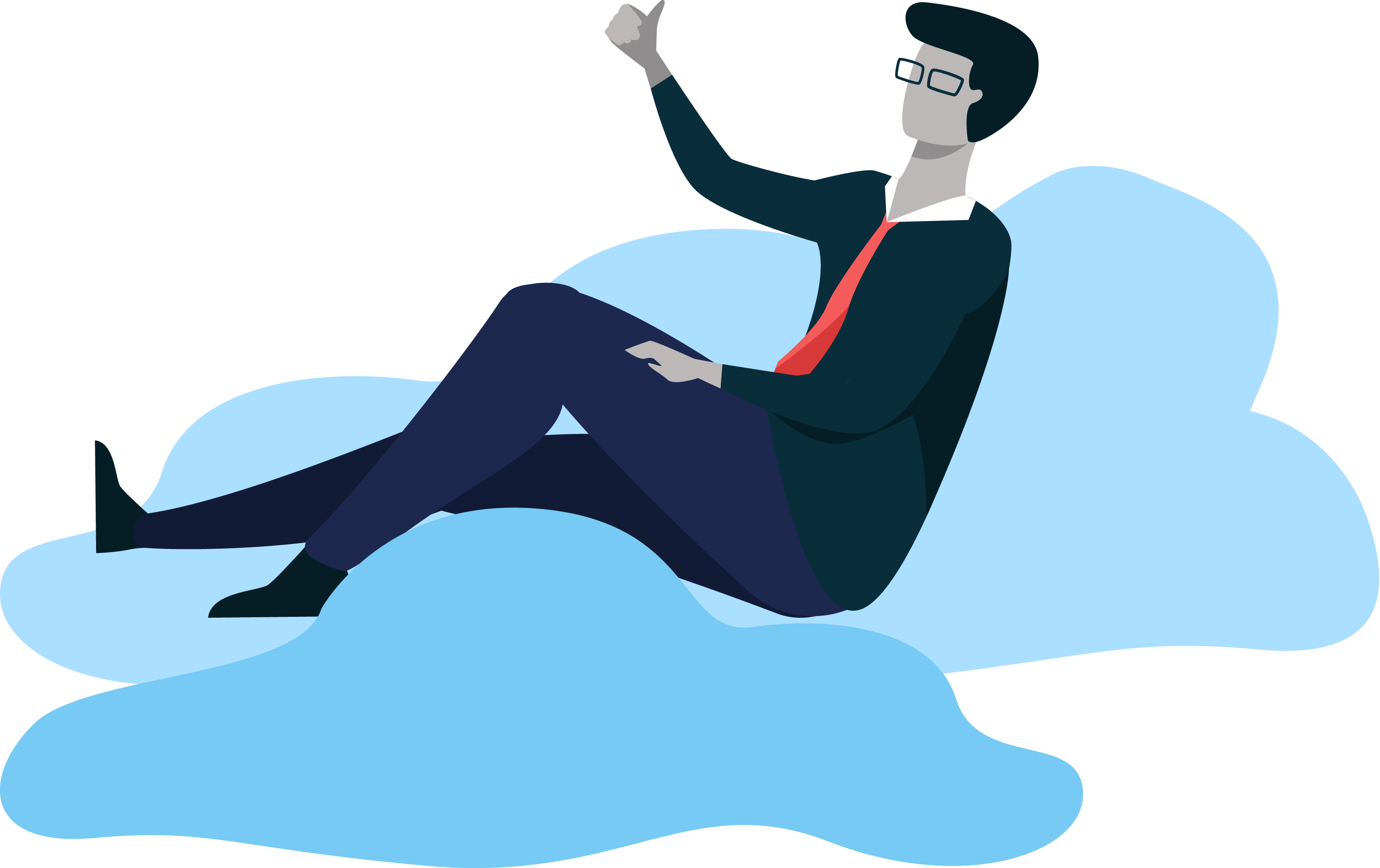 Illustration of a HR employee benefits professional relaxing on a cloud