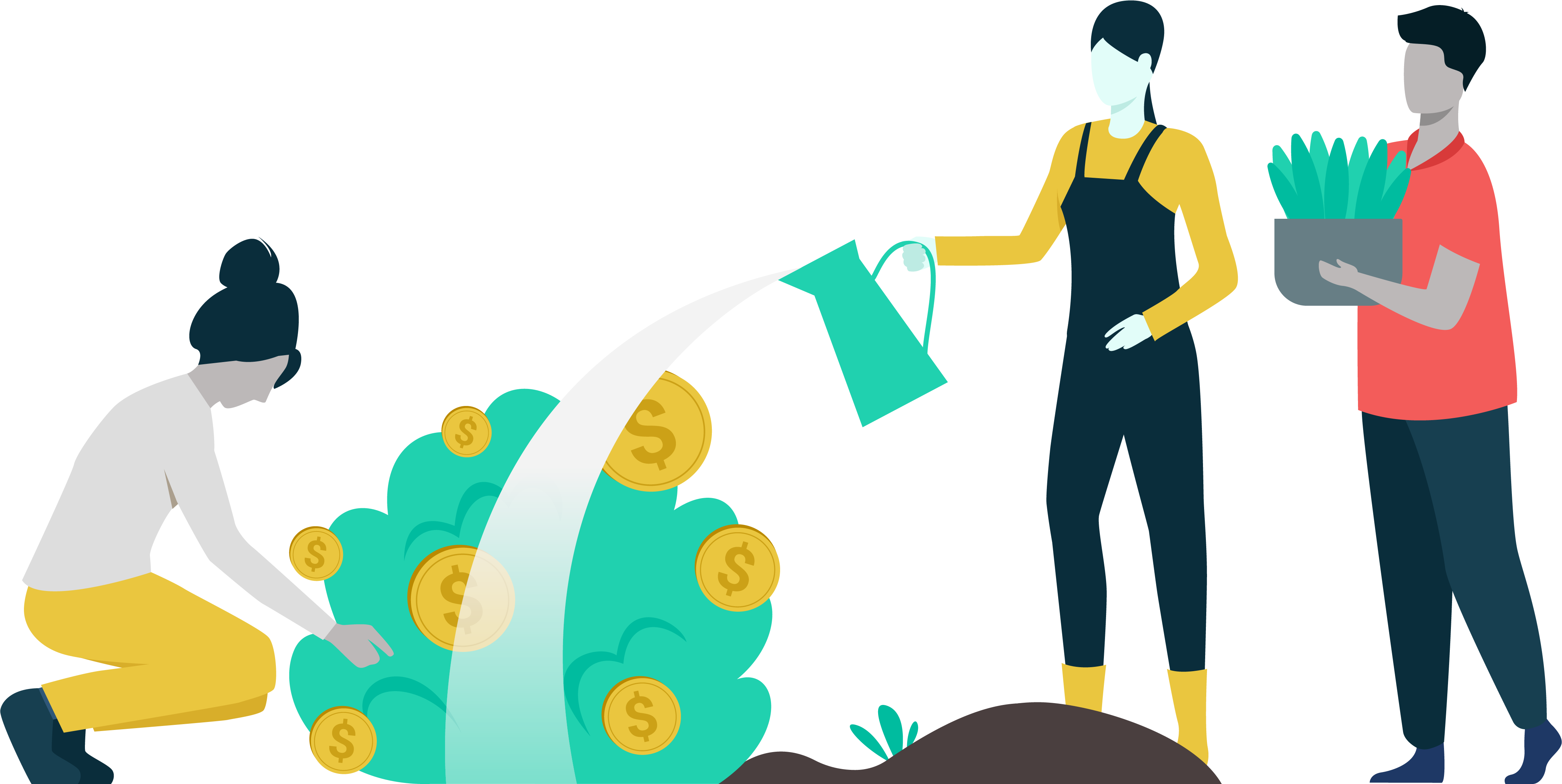Illustrated image of the LearnLux financial wellbeing team watering a money plant