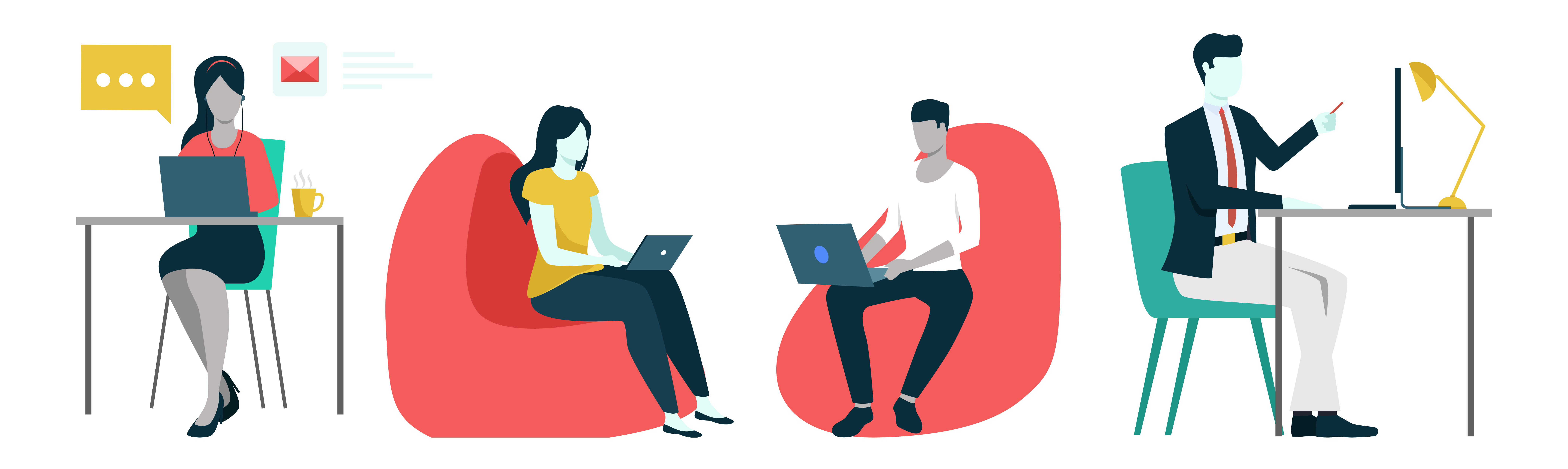 Illustration shows financial wellbeing employees working from home and at the office