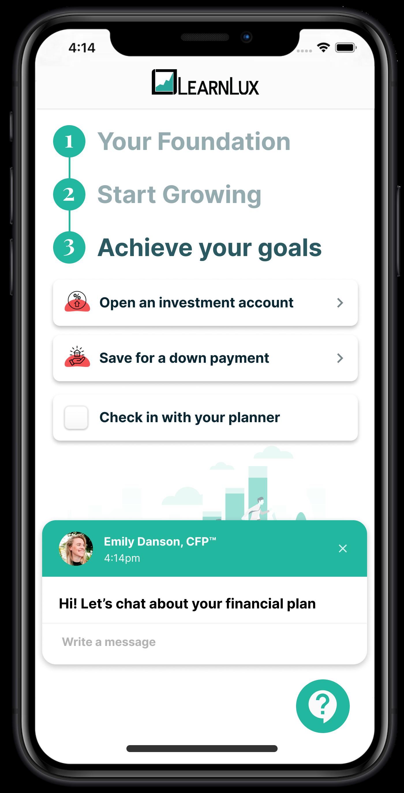 Black iPhone with LearnLux financial wellbeing program screenshot inside