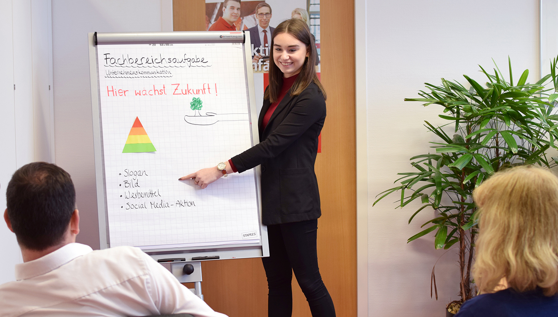 Junge Referentin erklärt zwei von hinten zu sehenden, sitzenden Mitarbeitern etwas am Flip-Chart, auf dessen Blatt das Wort Fachbereichsaufgabe zu lesen ist.