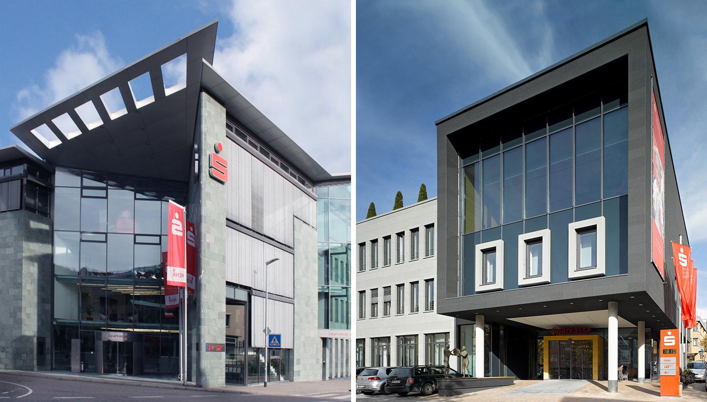 Zwei Gebäudebilder, links in Über-Eck-Ansicht mit gebäudehoch verglastem Eingang, rechts halbschräg fotografiert in kubischer Form mit großer Fensterfront.