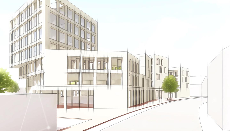 Gezeichneter Bürokomplex an einer Straßenecke