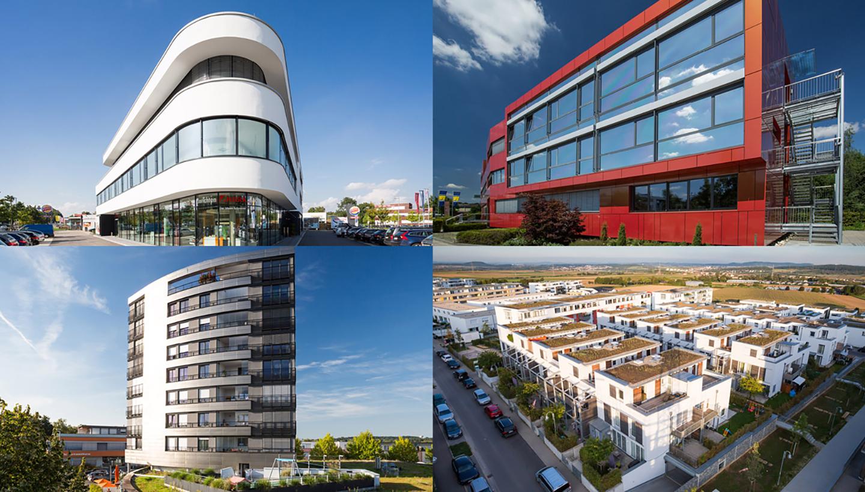 Viergeteiltes Bild mit modern gestalteten Gebäuden, einem weiße und rote Bürohaus, einem hohen Wohnhaus und einer Wohnsiedlung