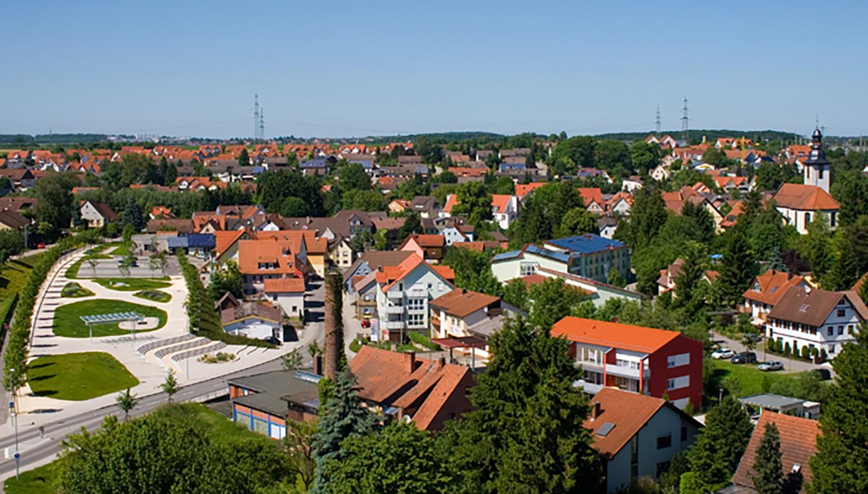 Luftbild des Ortskerns der lebenswerten Gemeinde Kupferzell