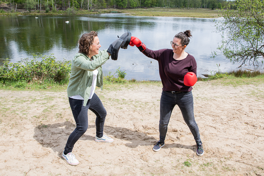 Sam boxing with partner