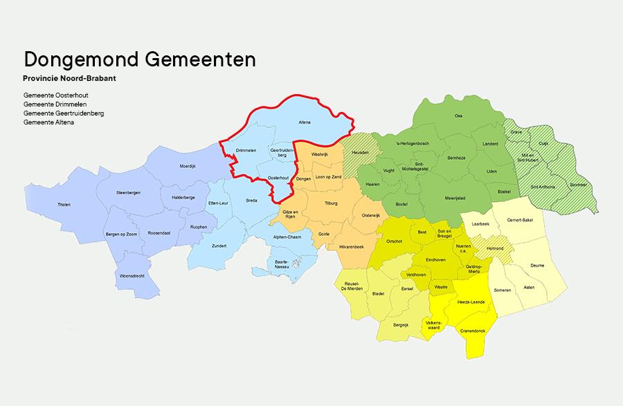 Map with the Dongemond municipality