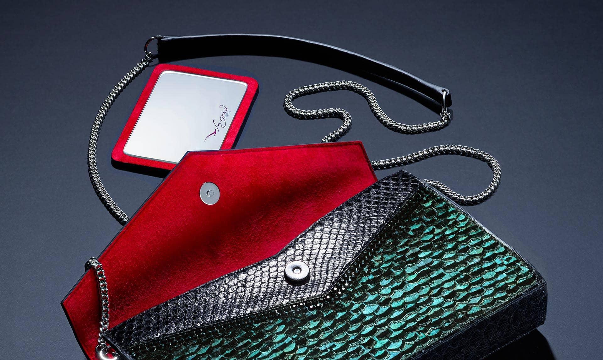 Pochette haute couture Esmeralda + miroir Ingrid Paris