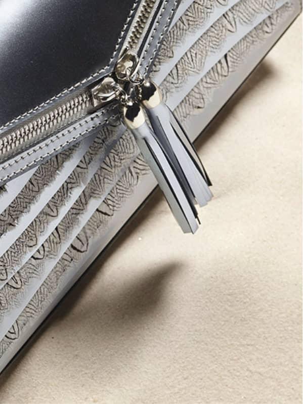 Pochette argentée haute couture Neptune Ingrid Paris