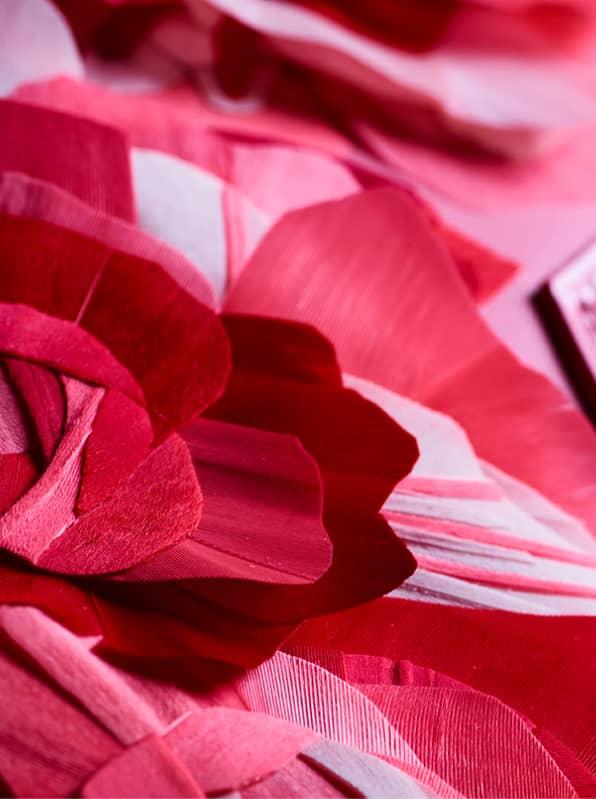 Pochette haute couture Rose rouge divine Ingrid Paris