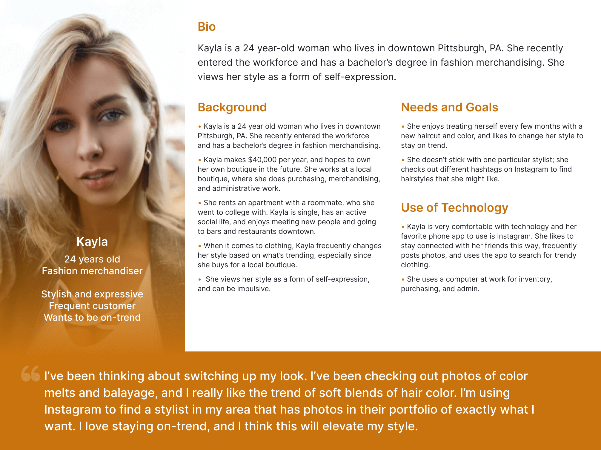 Persona worksheet for Kayla with a bio, background, needs and goals, and use of technology.