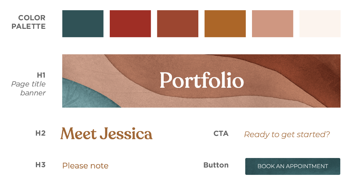 Image of a style sheet which shows a color palette, header graphic, and buttons.