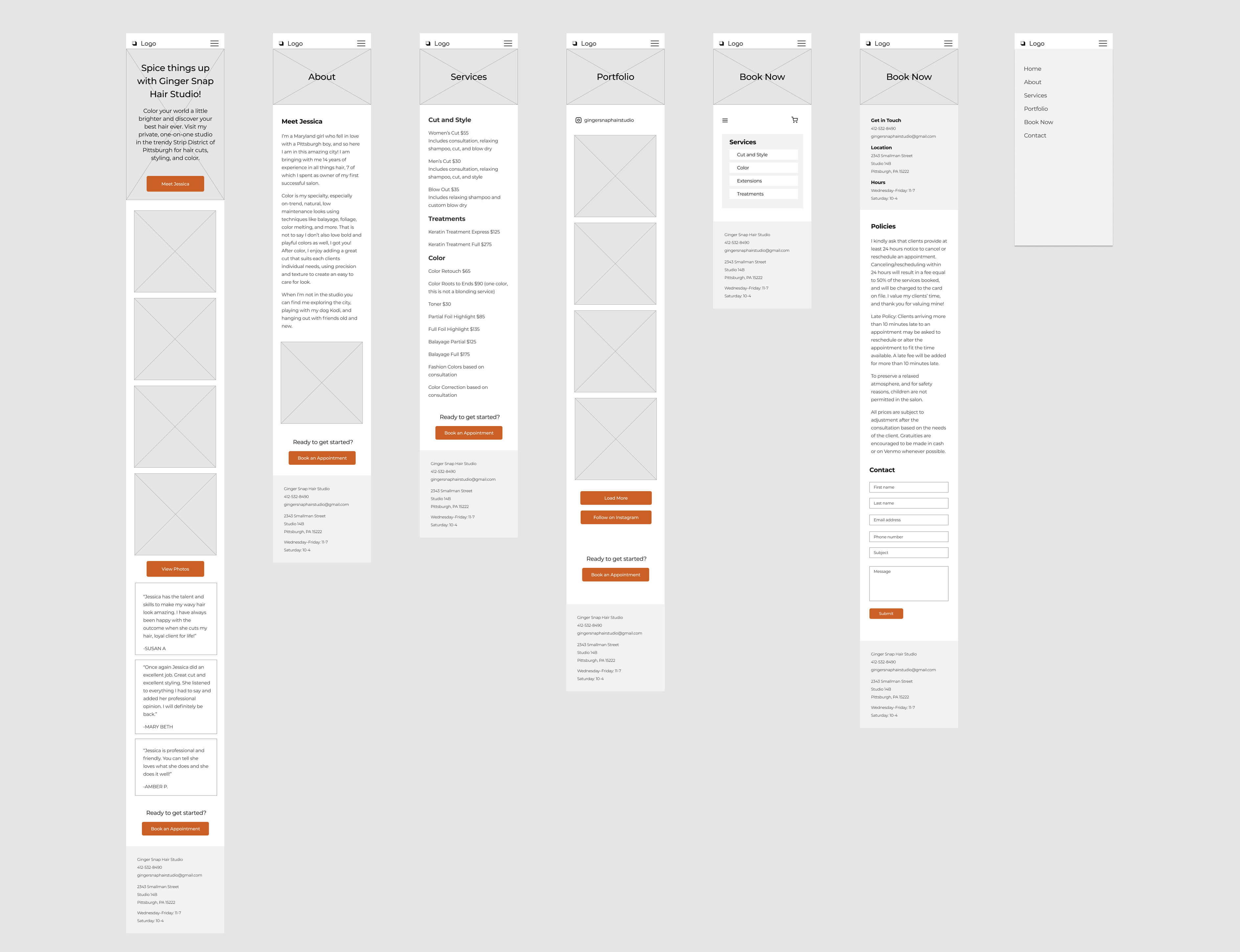 Image of a group of wireframes that outline a website on mobile.