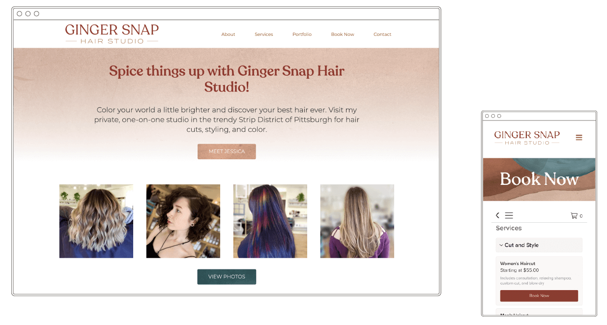 """Image of a website homepage which says """"Spice things up with Ginger Snap Hair Studio"""" and four photos of women."""