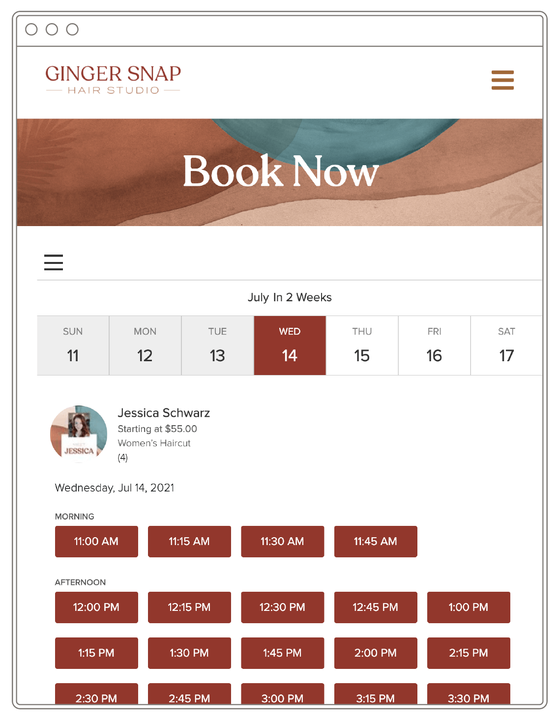 """Image of a website which says """"Book Now"""" and displays a calendar with time slots."""