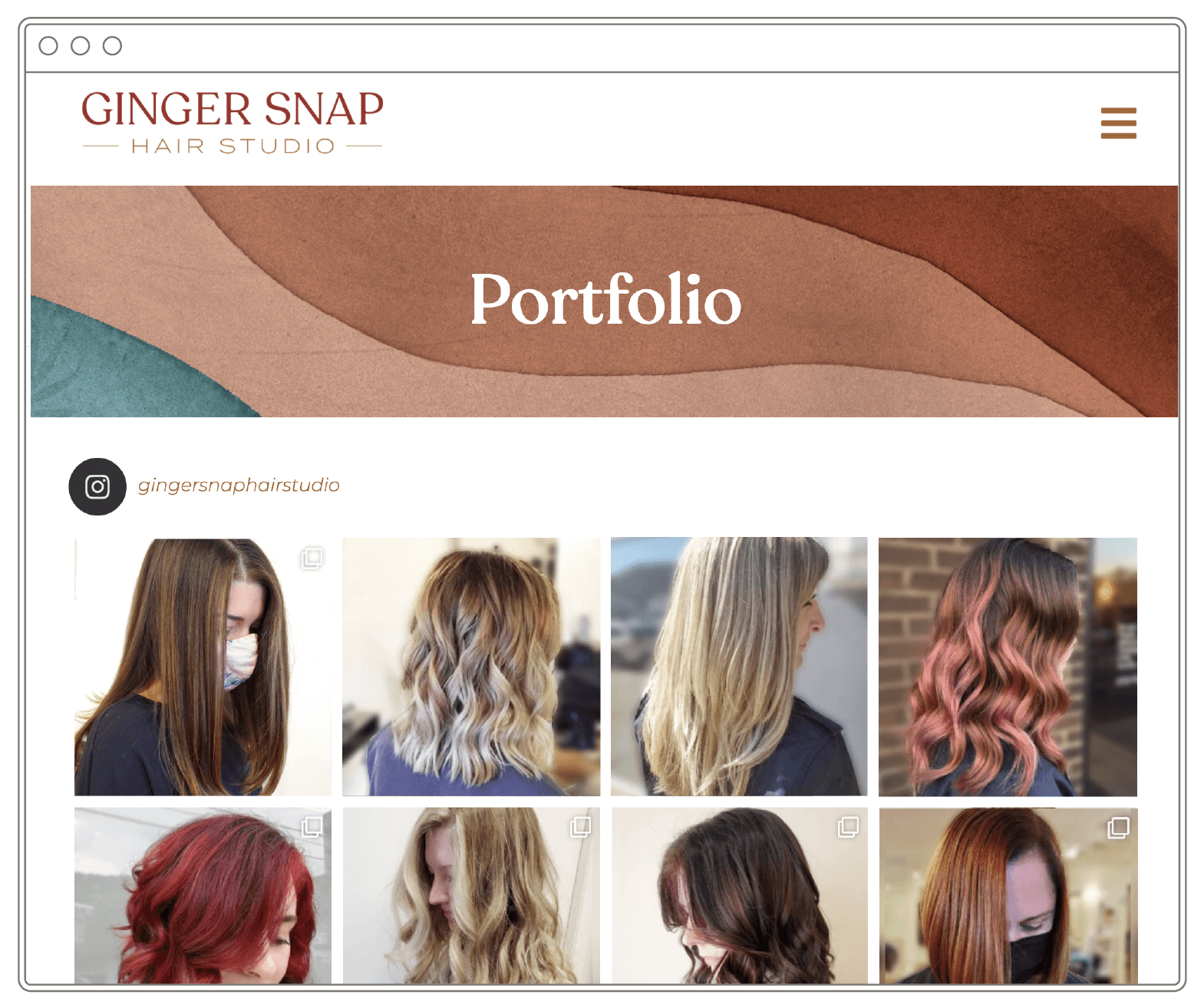 """Image of a website that says """"Portfolio"""" with eight photos of women."""