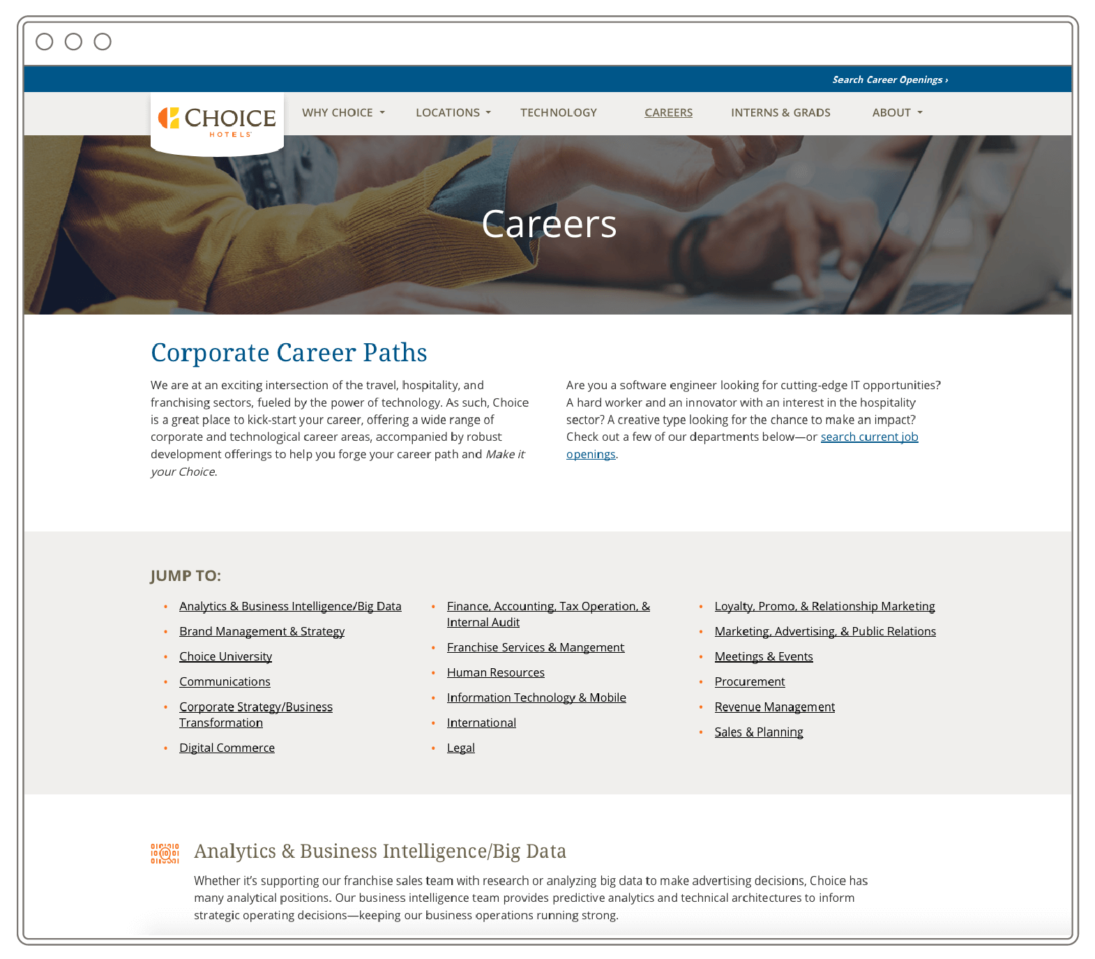 """View of a website inside of a browser that says """"Careers"""" with a list of job categories."""