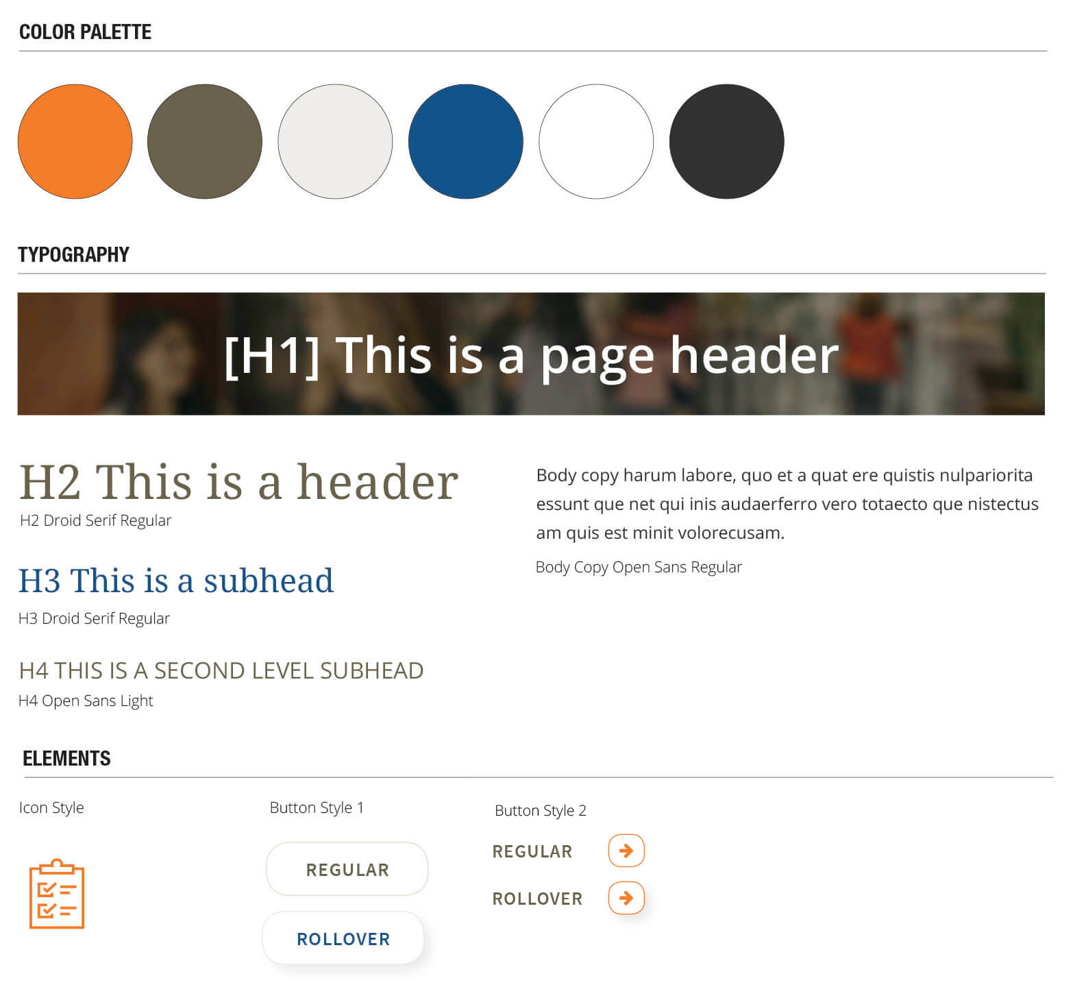 Image of a sheet with styling definitions, containing color palette, icons, buttons, and text.
