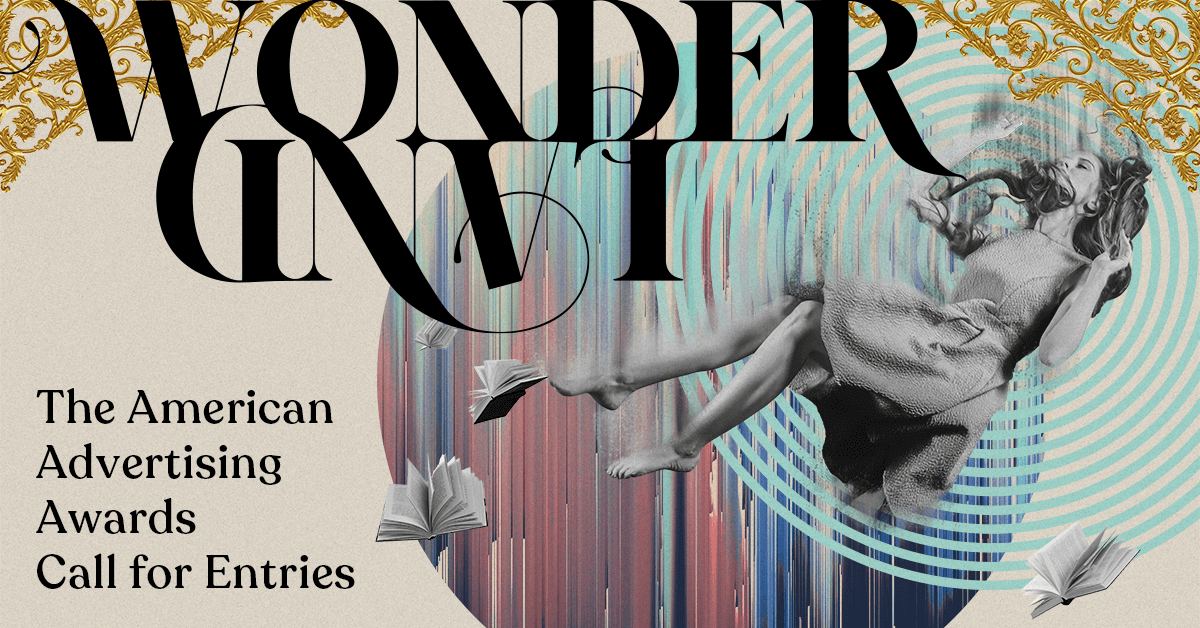 """Image of artwork with a falling woman that reads """"Wonderland: The American Advertising Awards Call for Entries""""."""