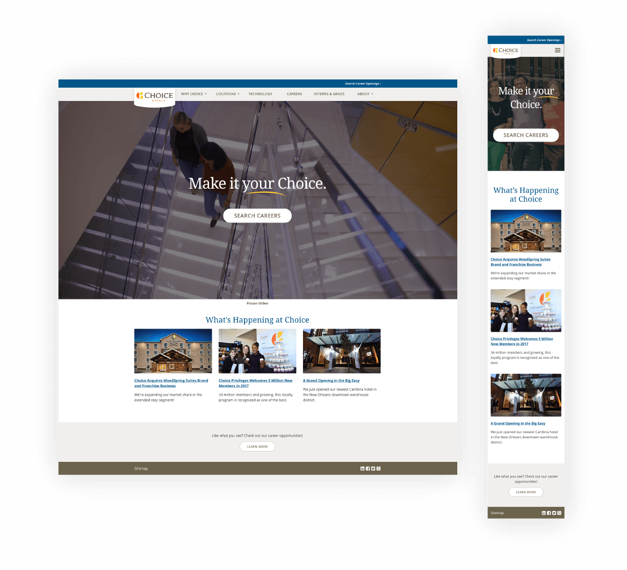 Mockup layout for website homepage.