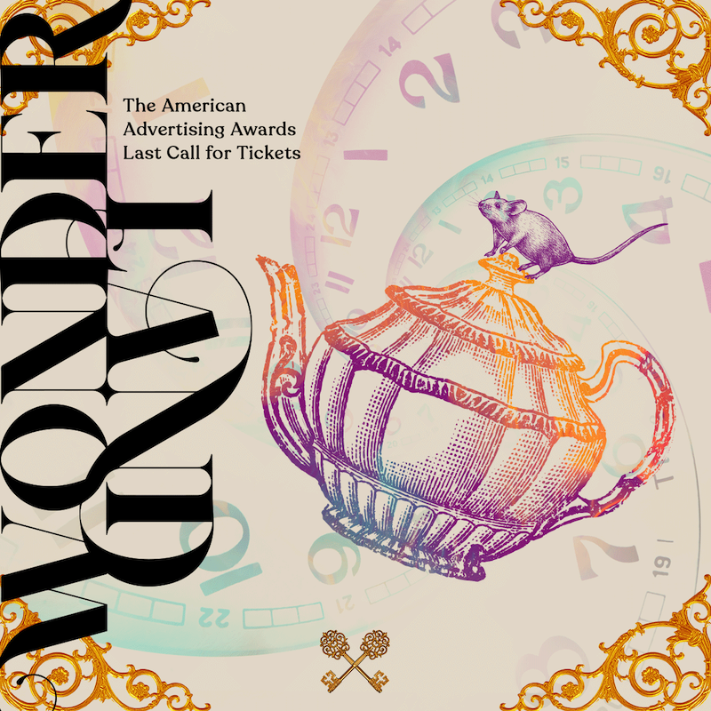 """Image of a social media graphic that says """"Wonderland"""" and contains a collage of a teapot, mouse, and clock."""