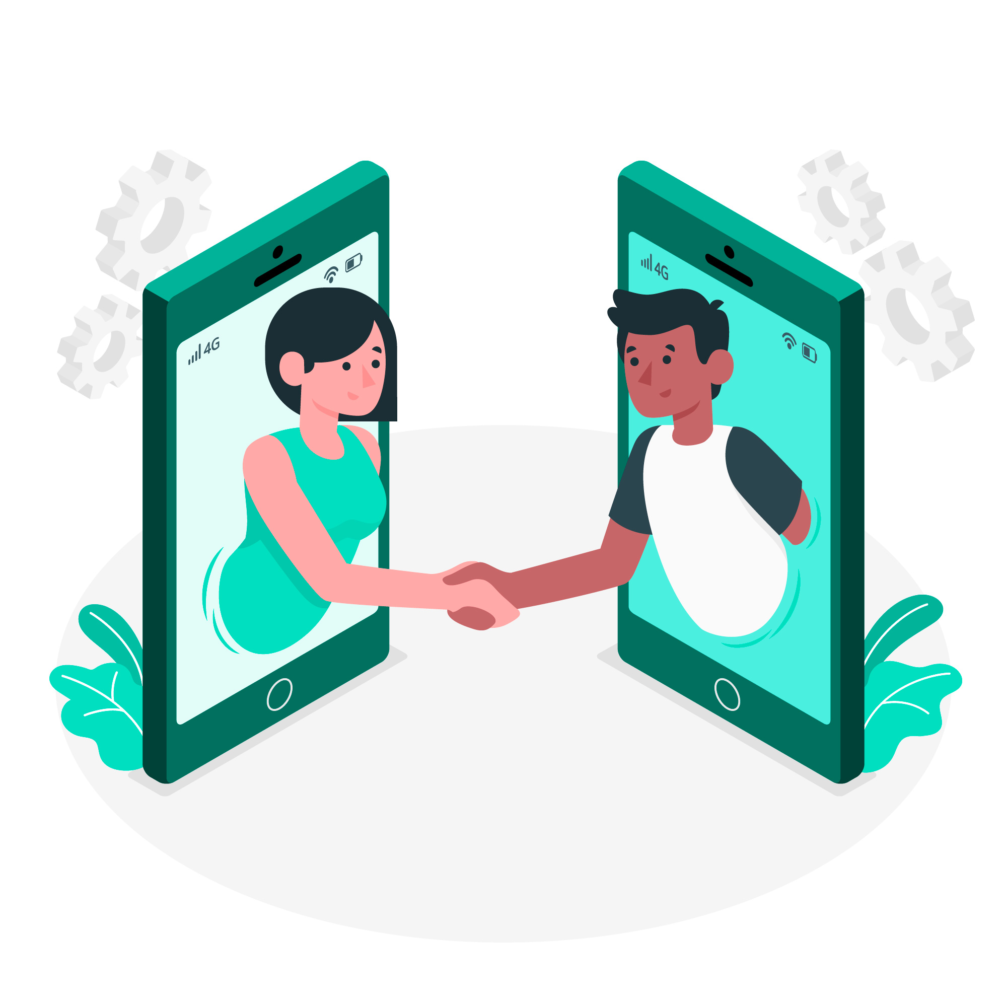 Woman and man shaking hands via giant phone screens