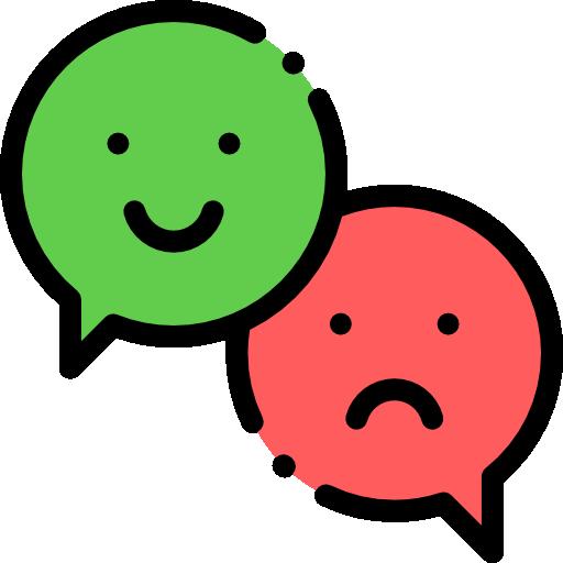 Happy and sad smiley emojis