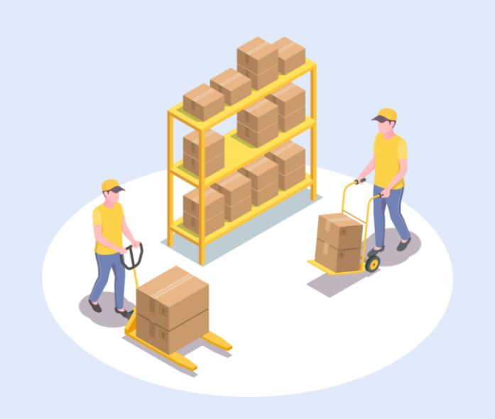 Men moving boxes in front of a shelf