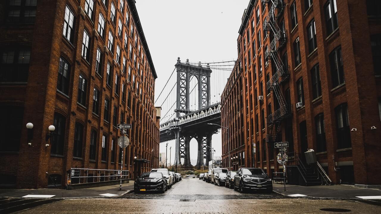 Foto da ponte de Manhattan na cidade de Nova Iorque, NY.