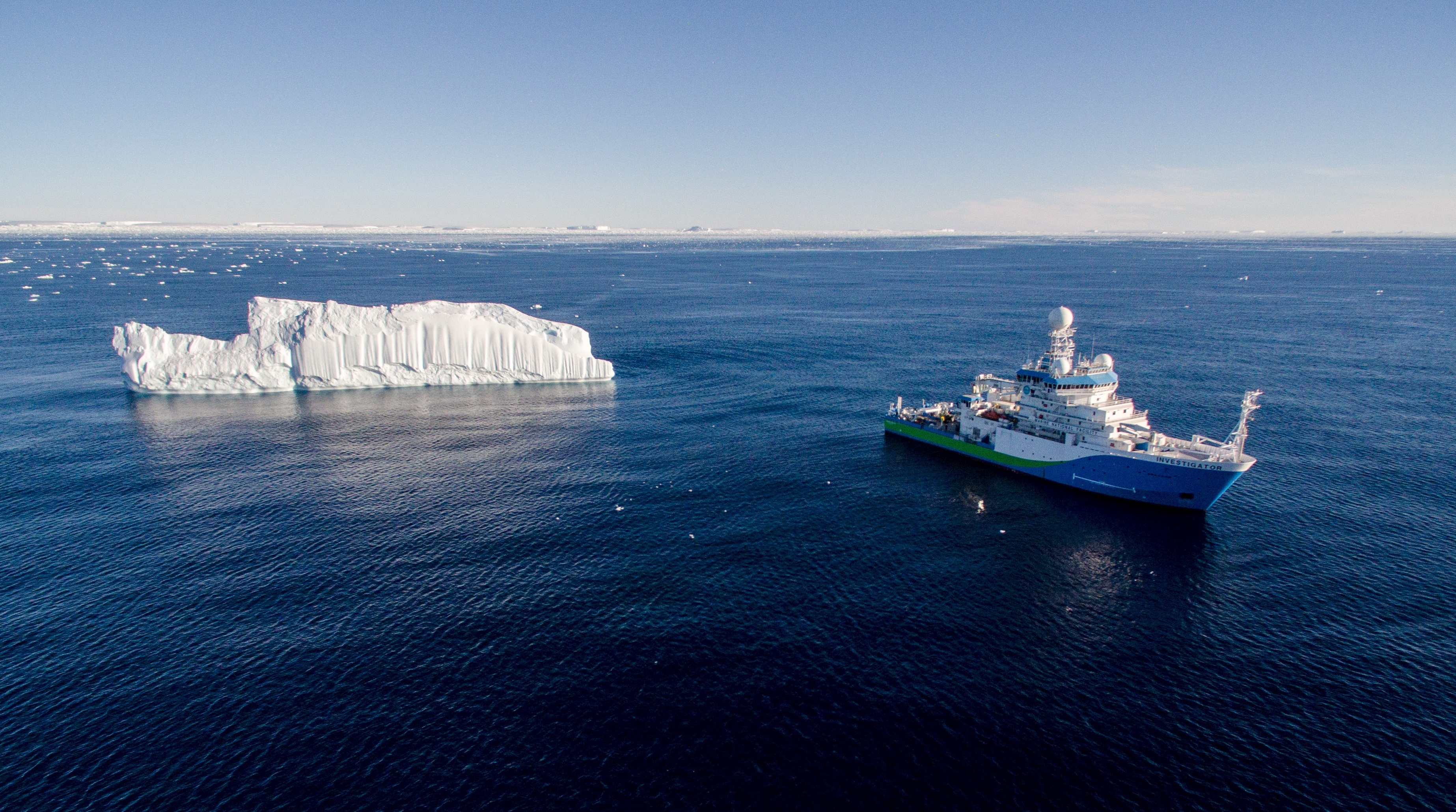 The RV Investigator in Antarctica during a research voyage. Photo by CSIRO Marine National Facility.