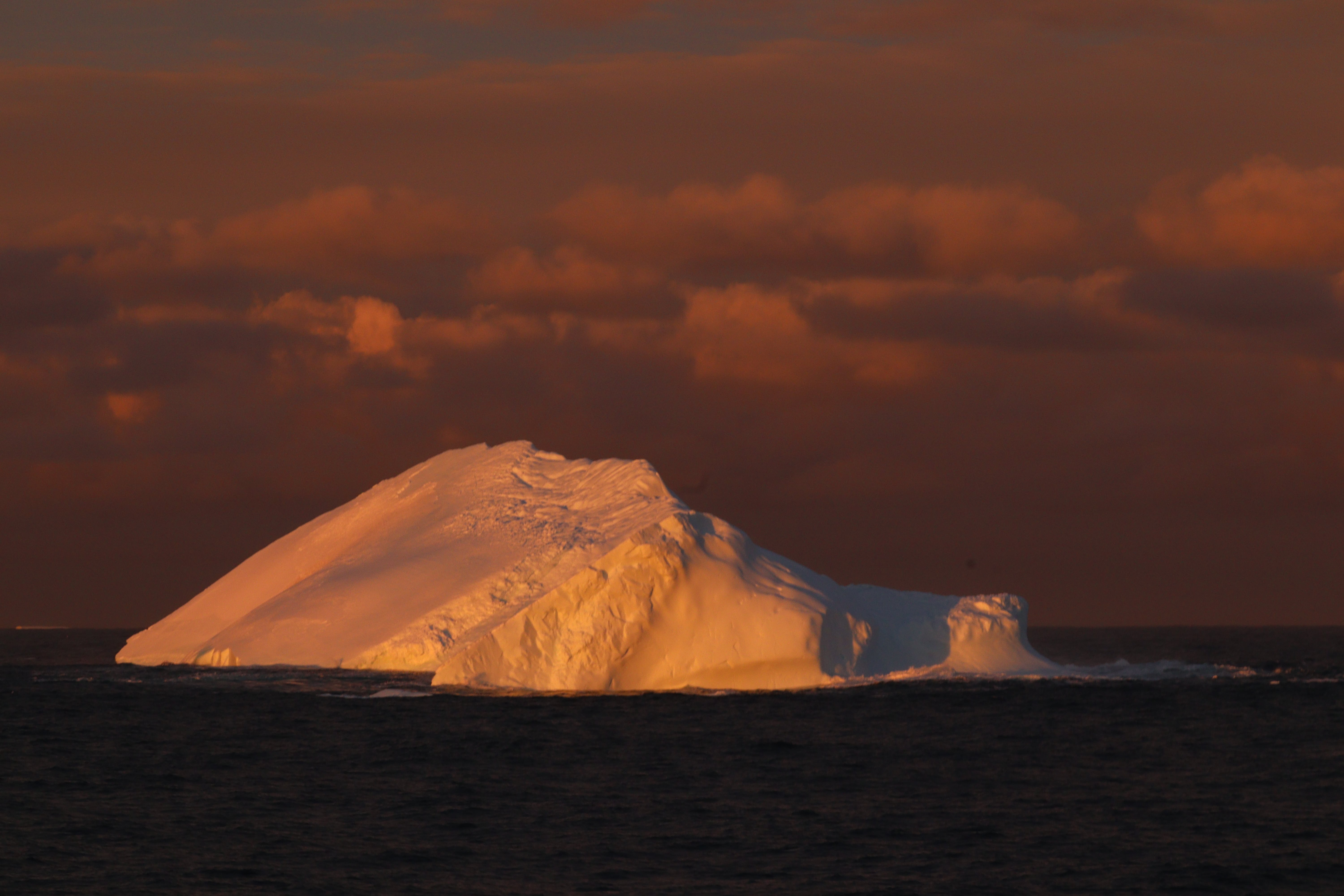 An iceburg during sunset in the Antarctic. Photo by Merinda McMahon.