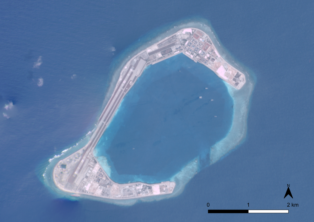 Satellite image of Subi Reef in Mar 2021.