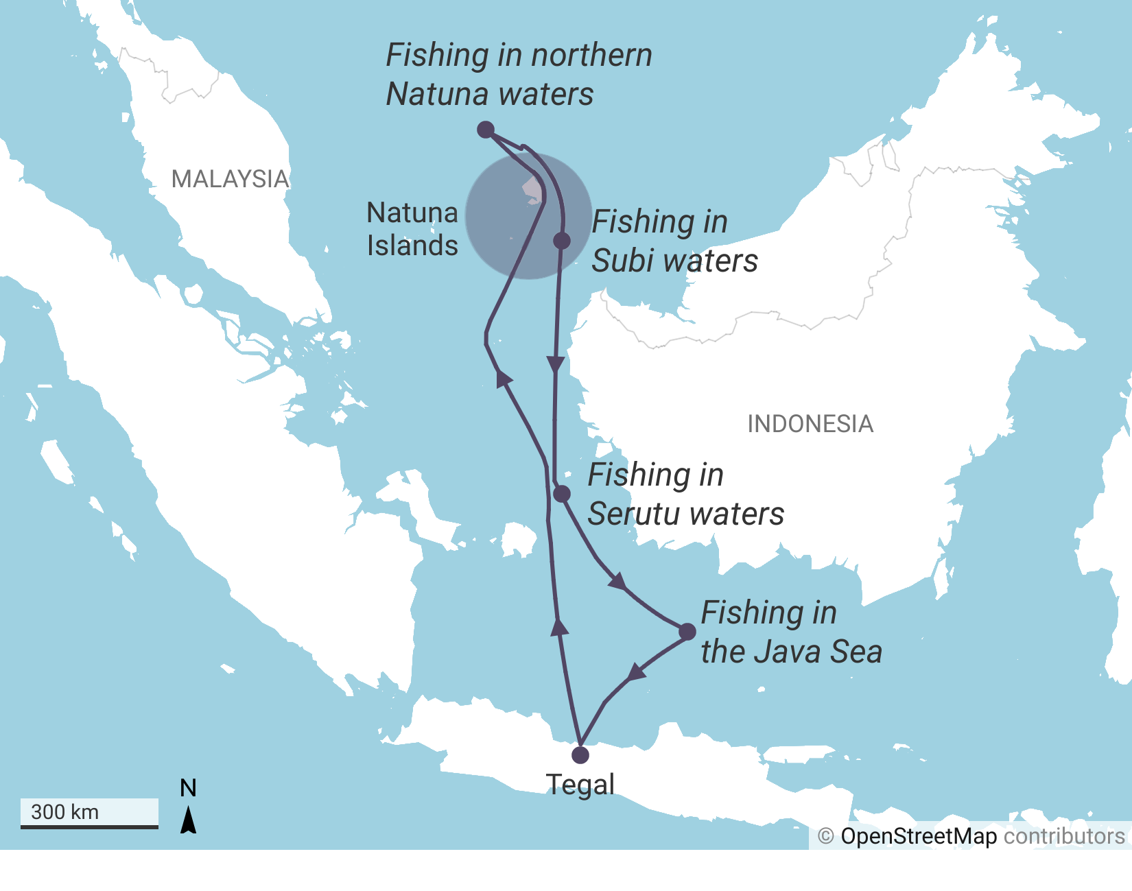 A route taken by one of the 30 fishing vessels that traveled from Tegal to the Natuna islands. The trip to travel northwards took them approx. five days at sea, they fished in the disputed waters for one month before traveling back to Tegal.