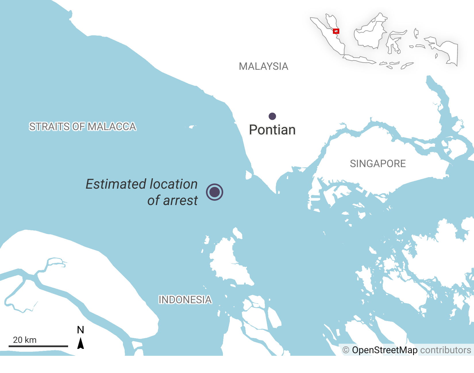 Estimated location of arrest of Jamaluddin Mohamad Bualik by the Indonesian authorities.