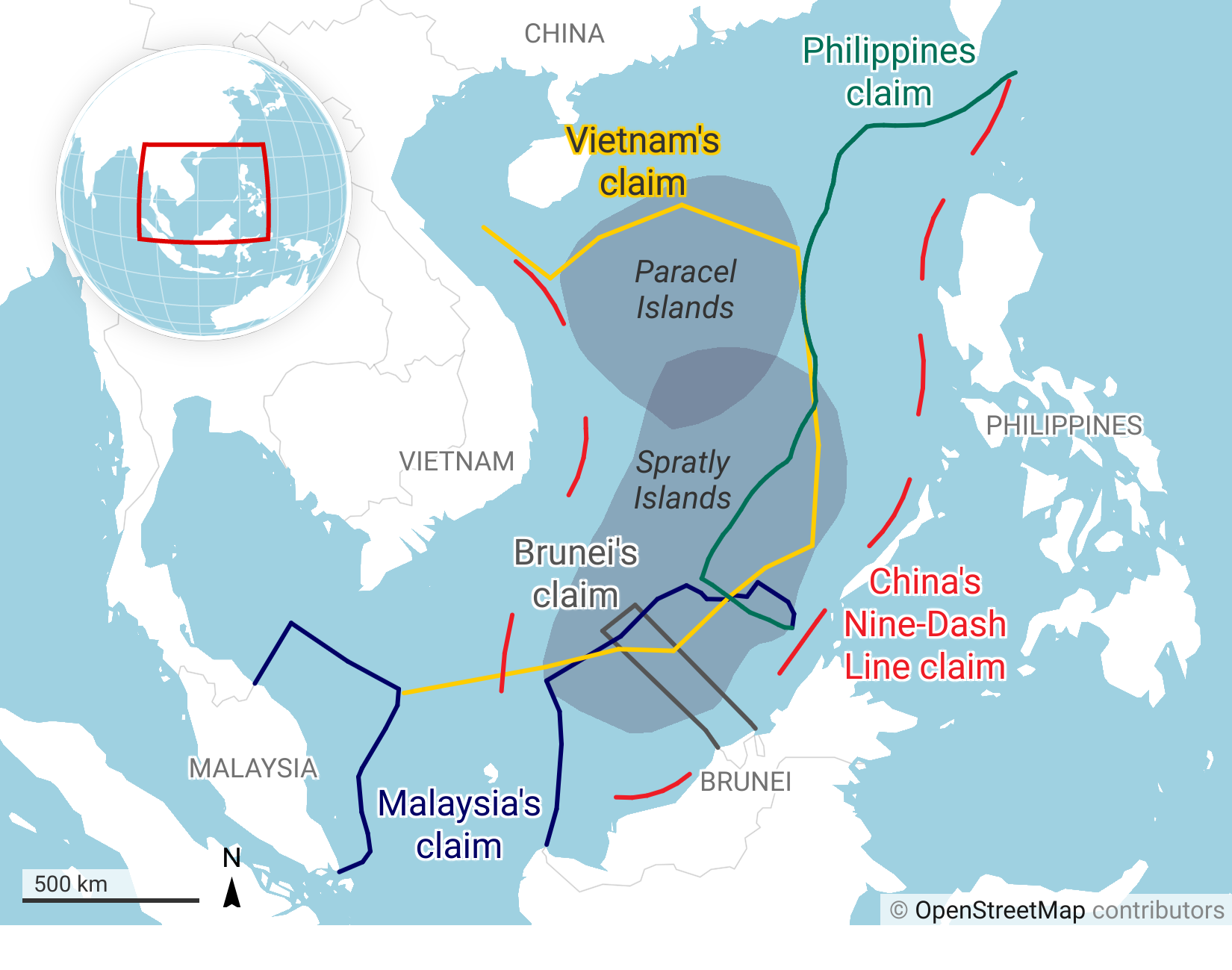 The South China Sea disputes involve both island and maritime claims by several sovereign states within the region.