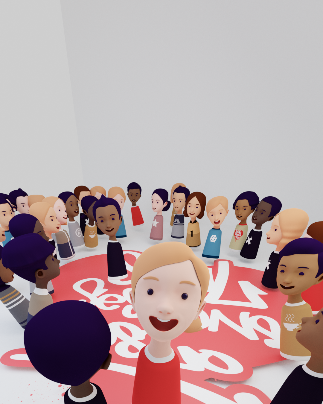 A group of avatars in a circle around two avatars dancing. Depicts a street dance battle.