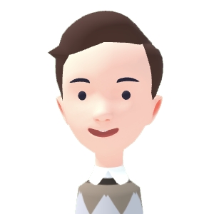 Avatar with a classic gents cut brown short hair, smiling with open mouth, diamond pattern brown sweater.