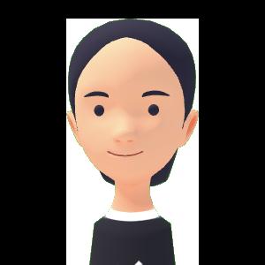 Avatar with dark long hair smiling