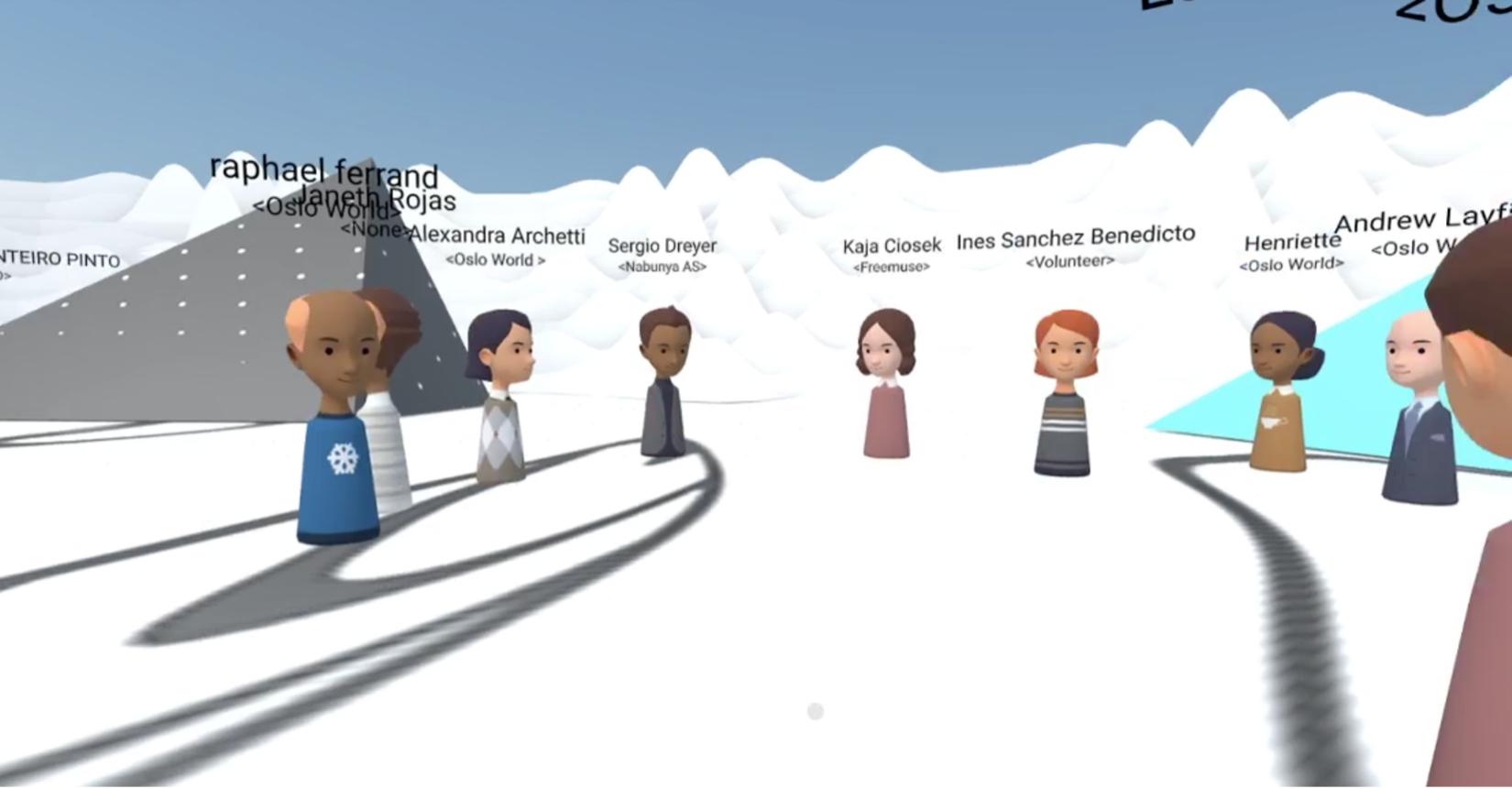 A group of avatars in 3D space in a circle discussing something.