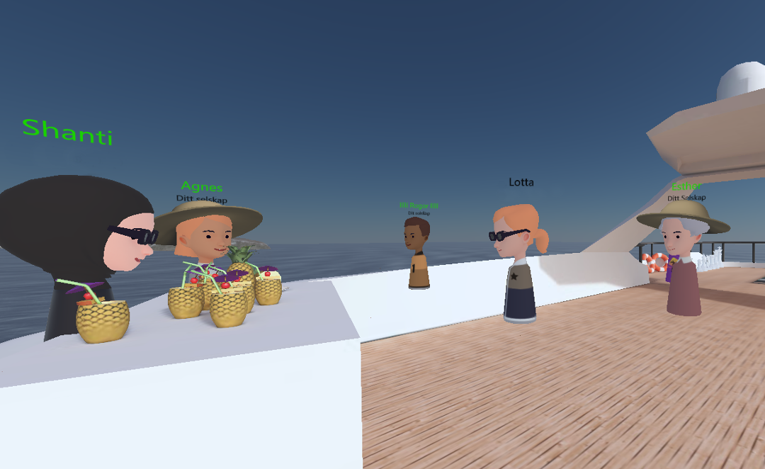 Avatars relaxing on a yatch with pineapple drinks.