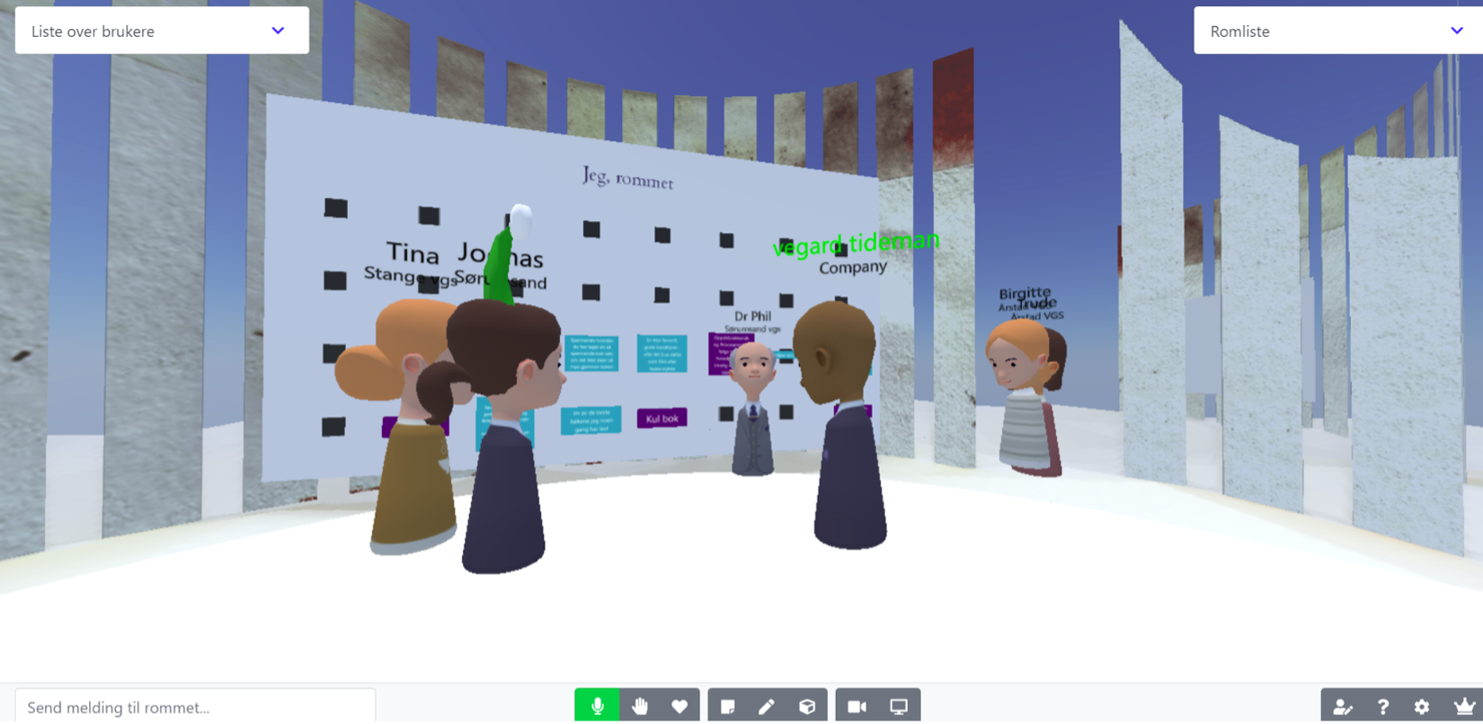 In 3D using avatars, screenshot of students talking to an author