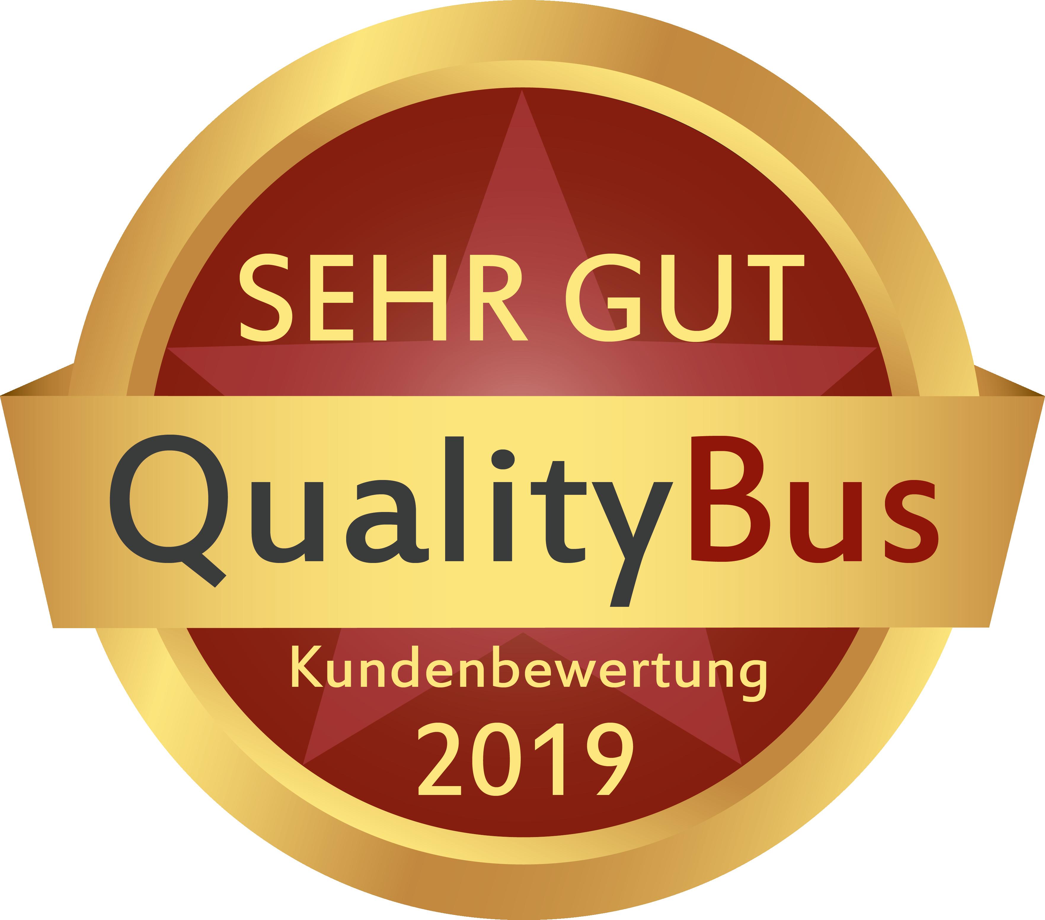 """Bewertung """"Sehr gut"""" vom Bewertungsportal Quality Bus im Jahr 2019"""