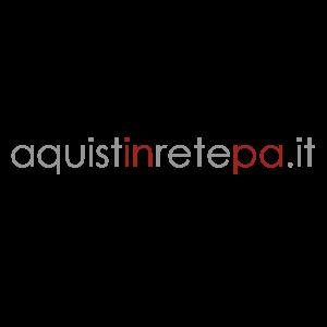 """Logo di MEPA con il rimando al sito web """"aquistiinretepa.it"""" e accompagnato dalla scritta """"mercato elettronico della Pubblica Amministrazione"""""""